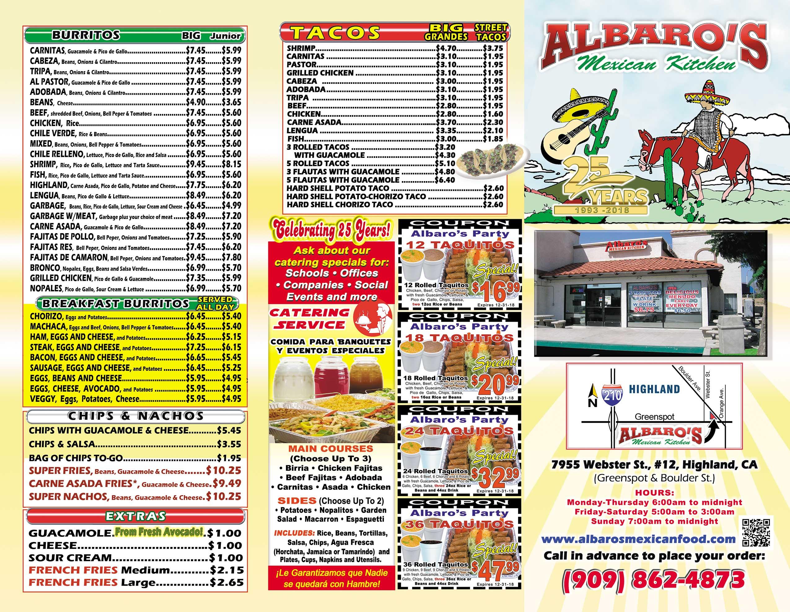 Albaros Mexican Food Menu